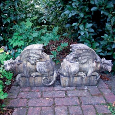 Pair Gothic Griffin Stone Sculpture - Garden Statue