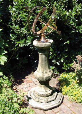Pedestal Armillary Stone Sun Dial - Large Garden Sundial