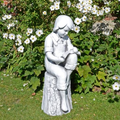 Reading Boy 88cm White Stone Garden Statue
