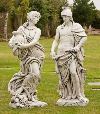 Roman Gladiator & Goddess Stone Sculpture - Large Garden Statue