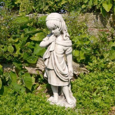 Shy Summer Girl 61cm Antique Stone Garden Statue