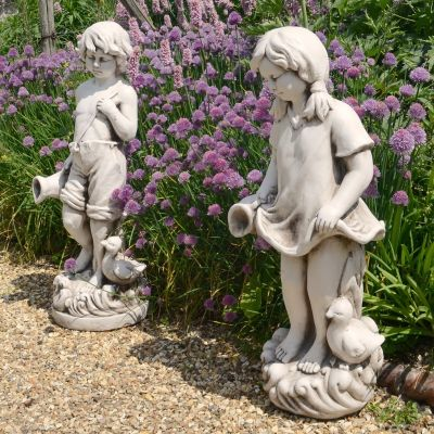 Summer Love Boy & Girl Antique Stone Garden Statues