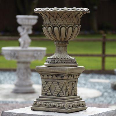 Woven Stone Plant Pot on Plinth - Large Garden Planter