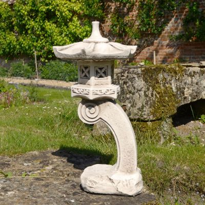 Curved Japanese Pagoda Antique Stone Garden Ornament