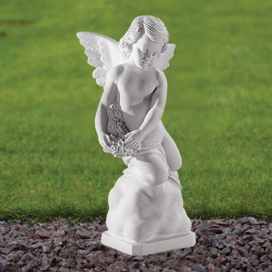 Angel Figurine 38cm Religious Statue - Marble Garden Ornament