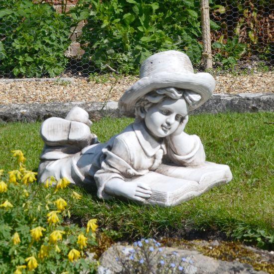 Antique Stone Laying Reading Boy Statue - 36cm Garden Sculpture
