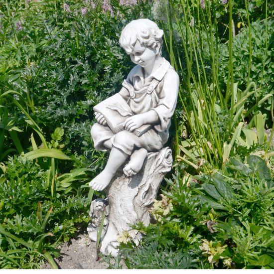 Antique Stone Reading Boy Statue - 88cm Garden Sculpture