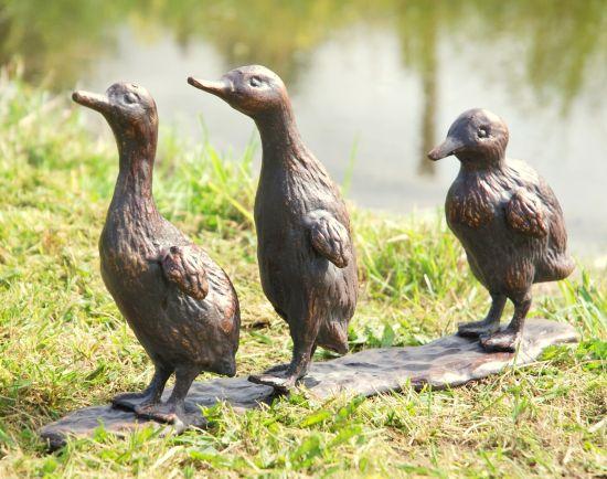 Baby Ducklings Bronze Metal Garden Ornaments