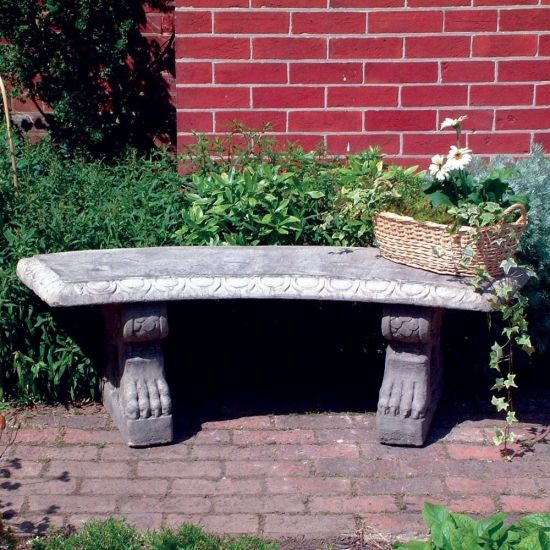 Curved Pattern Top Stone Bench - Large Garden Bench