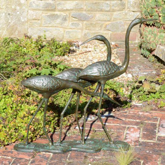 Dancing Egrets Bronze Metal Garden Ornament