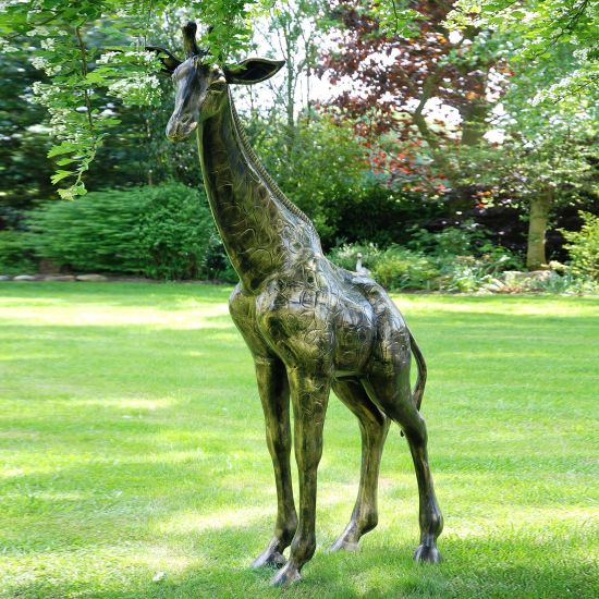 Extra Large Giraffe Bronze Metal Garden Statue