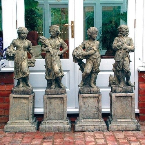 Four Children Stone Statue on Plinths - Large Garden Statue