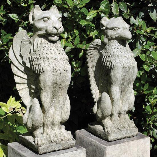 Gothic Griffin & Lion Stone Sculpture - Garden Statue