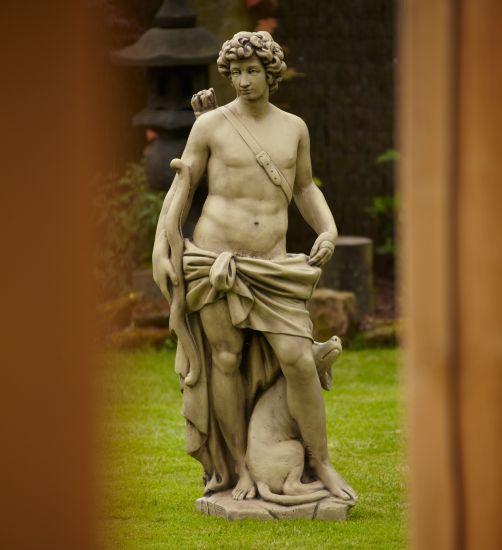 Hunter & Dog Stone Figurine Sculpture - Large Garden Statue