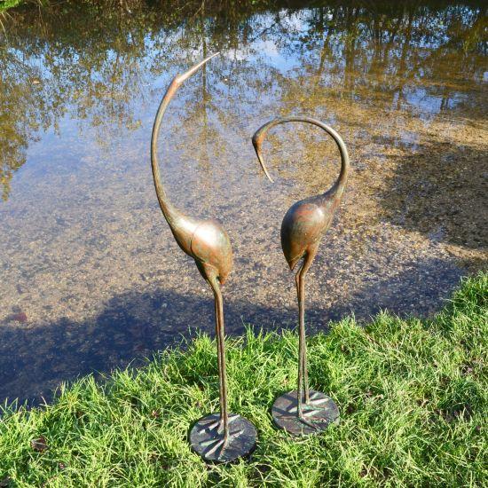 Modern Cranes Bronze Metal Garden Ornaments