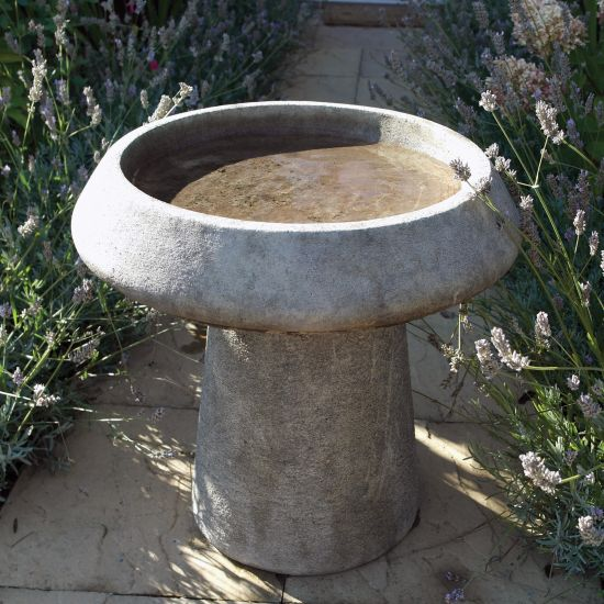 Modern Stone Bird Bath - Garden Birdbath Feeder