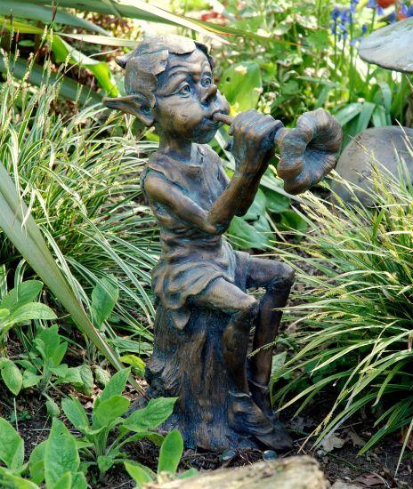 Musical Pixie Bronze Statue Garden Ornament