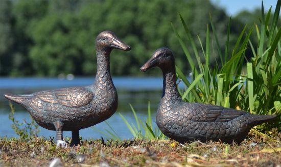 Pair of Ducks Antique Bronze Statue - Large Garden Ornament