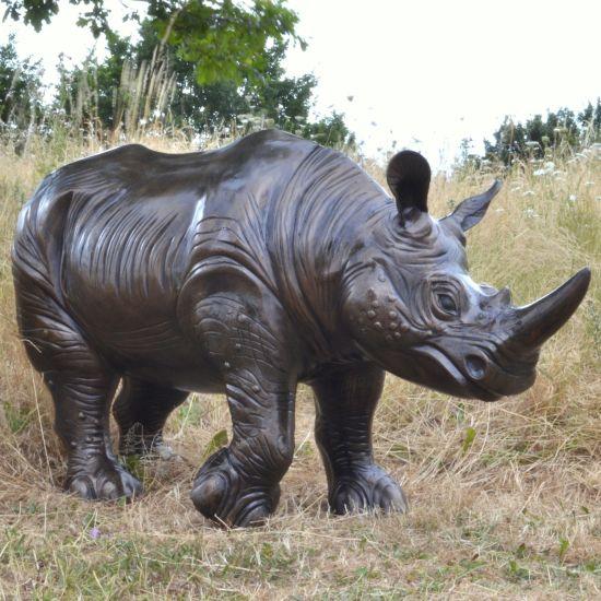 Rhino Bronze Metal Garden Statue