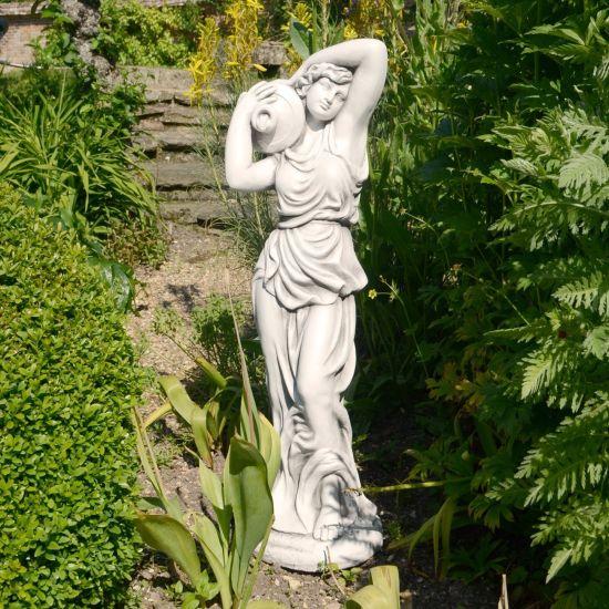 Roman Goddess with Urn 84cm White Stone Garden Statue