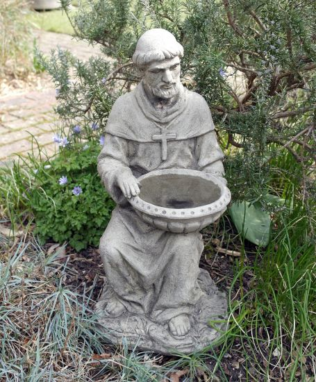 St. Francis Stone Birdbath - Garden Bird Bath Feeder