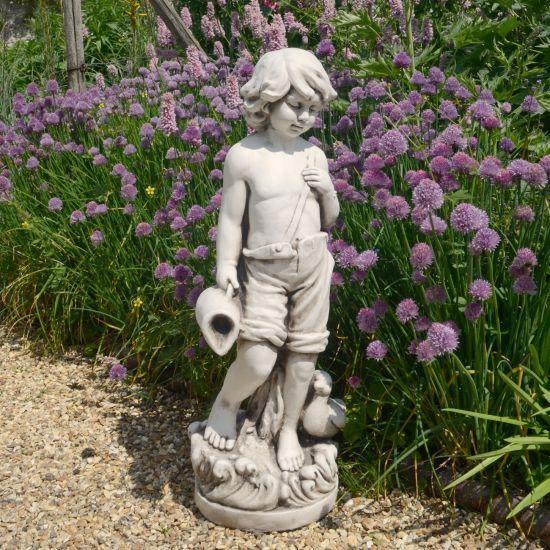 Summer Boy 73cm Antique Stone Garden Statue