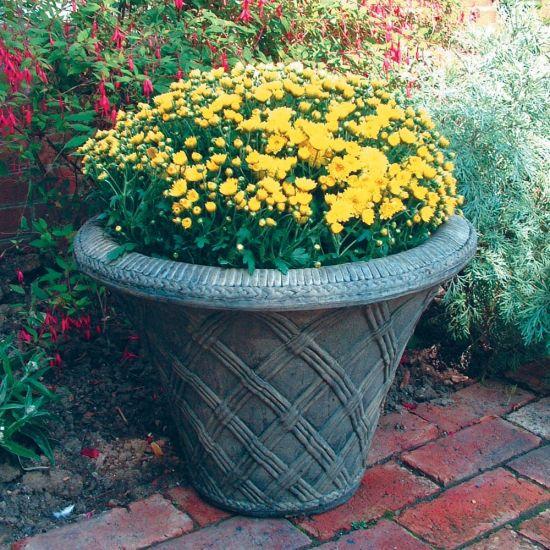 Thatched Urn Stone Plant Pot - Large Garden Planter
