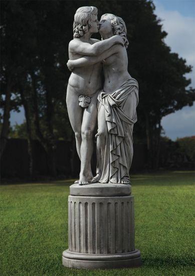 The Lovers Nude Stone Sculpture & Pedestal - Large Garden Statue
