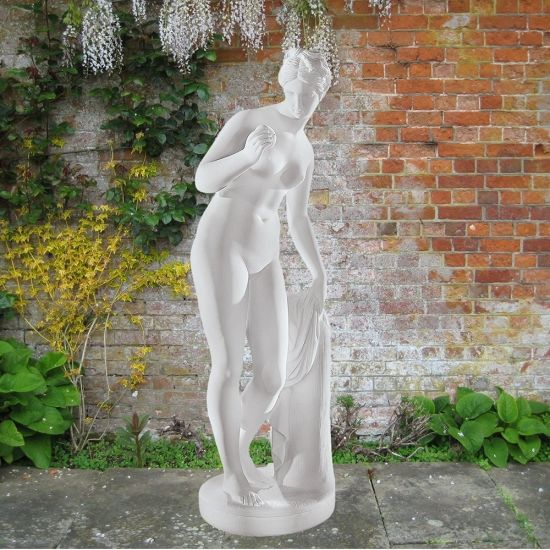Venus & Apple 90cm Greek Garden Sculpture - Large Marble Statue