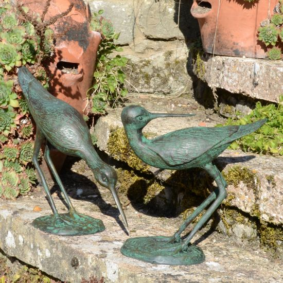 Sandpipers Bronze Metal Garden Ornaments