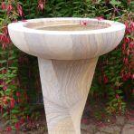 Modern Twisting Rainbow Sandstone Birdbath - Garden Bird Bath