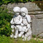 Antique Stone Country Boy & Girl Statue - 56cm Garden Sculpture