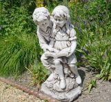 Antique Stone Reading Boy & Girl Statue - 88cm Garden Sculpture