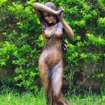 Shy Maiden 85cm Bronze Marble Resin Garden Statue