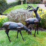Deer Bronze Statues - Metal Garden Ornaments
