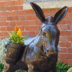 Wild Donkey with Baskets Bronze Metal Garden Statue
