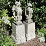 Gothic Griffin & Lion on Plinths - Stone Garden Statue