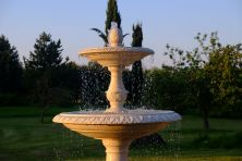 Grand Double Tier 3m Golden Marble Stone Water Fountain Feature