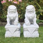 Granite Chinese Fu Temple Lions - Large Foo Dogs Statue