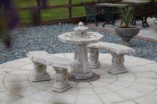 Japanese Stone Benches & Table Patio Set - Garden Furniture
