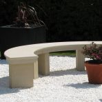 Modern Grand Curved Stone Bench - Large Garden Benches