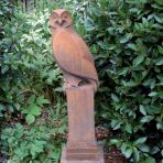 Owl Modern Statue (Rust) - Large Garden Sculpture