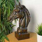 Race Horse Head Bronze Metal Garden Ornament