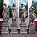 Set of Four Seasons Maids on Plinths - Large Garden Statue