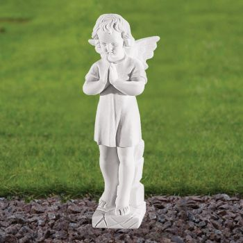 Angel Figurine 25cm Religious Statue - Marble Garden Ornament