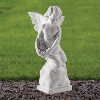 Angel Figurine 38cm Religious Statue - Marble Garden Ornament