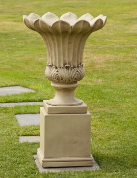 Annecy Stone Vase on Pedestal - Large Garden Planter