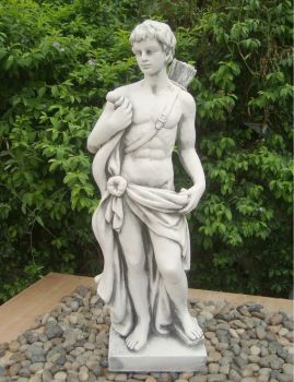 Apollo the Hunter 83cm White Stone Garden Statue