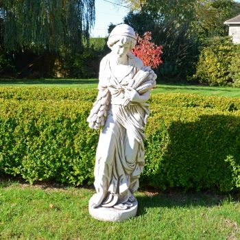 Autumn Maiden 119cm Four Seasons Antique Stone Garden Statue