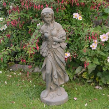 Autumn Maiden 84cm Four Seasons Bronze Rust Stone Garden Statue